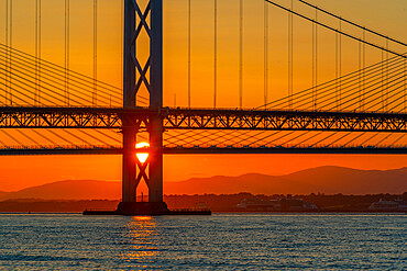 View of the Forth Road Bridge and Queensferry Crossing over the Firth of Forth at sunset, South Queensferry, Edinburgh, Lothian, Scotland, United Kingdom, Europe
