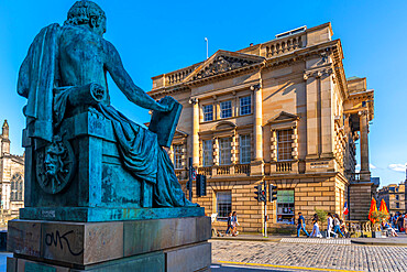 View of David Hume statue and Old Town Hall on the Golden Mile, Edinburgh, Lothian, Scotland, United Kingdom, Europe