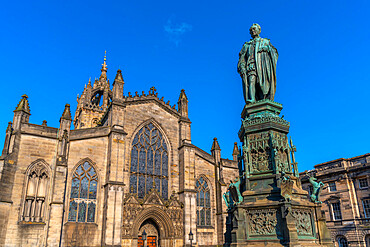 Statue of Walter Francis Montagu Douglas Scott, Golden Mile, Edinburgh, Lothian, Scotland, United Kingdom, Europe