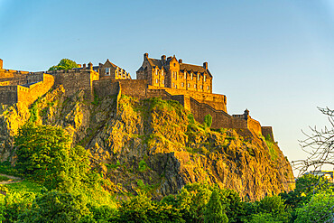 View of Edinburgh Castle from Princes Street at sunset, UNESCO World Heritage Site, Edinburgh, Scotland, United Kingdom, Europe