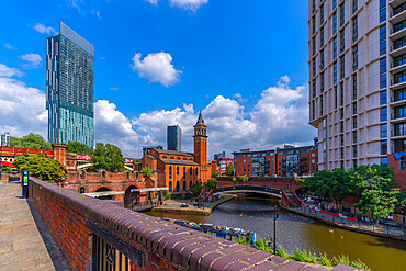 View of 301 Deansgate, St. George's church, Castlefield Canal, Manchester, England, United Kingdom, Europe