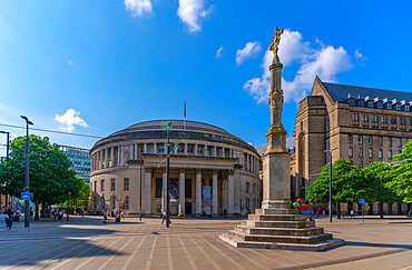 View of Central Library and monument in St Peter's Square, Manchester, Lancashire, England, United Kingdom, Europe