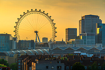 View of the London Eye and rooftop of Waterloo Station, Waterloo, London, England, United Kingdom, Europe
