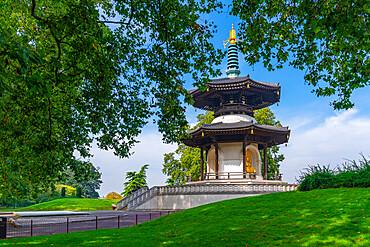 View of The London Peace Pagoda, Battersea Park, Nine Elms Lane, London, England, United Kingdom, Europe