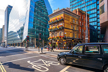 View of The Albert, an old London pub, in Victoria Street surrounded by modern buildings, Westminster, London, England, United Kingdom, Europe