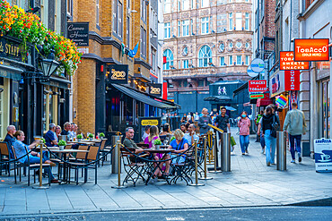 View of alfresco dining on Bear Street, West End, Westminster, London, England, United Kingdom, Europe
