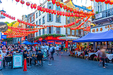 View of colourful Wardour Street in Chinatown, West End, Westminster, London, England, United Kingdom, Europe