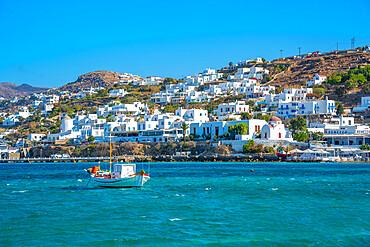 View of boats in harbour, Mykonos Town, Mykonos, Cyclades Islands, Greek Islands, Aegean Sea, Greece, Europe