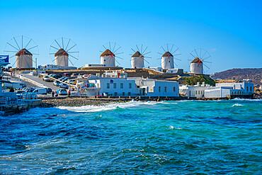 View of the windmills in Mykonos Town, Mykonos, Cyclades Islands, Greek Islands, Aegean Sea, Greece, Europe