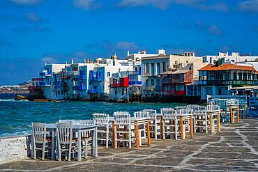 View of Liitle Venice and restaurant tables in Mykonos Town, Mykonos, Cyclades Islands, Greek Islands, Aegean Sea, Greece, Europe