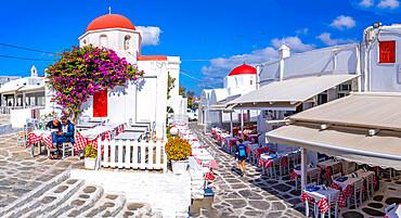 View of red dome chapel's and restaurant in Mykonos Town, Mykonos, Cyclades Islands, Greek Islands, Aegean Sea, Greece, Europe