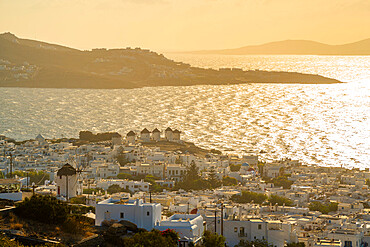 View of flour mills and sea, Mykonos Town, Mykonos, Cyclades Islands, Greek Islands, Aegean Sea, Greece, Europe
