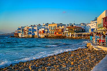 View of Liitle Venice in Mykonos Town at sunset, Mykonos, Cyclades Islands, Greek Islands, Aegean Sea, Greece, Europe
