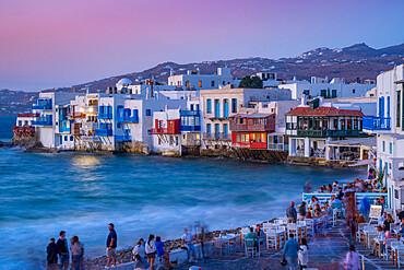 View of Liitle Venice in Mykonos Town at dusk, Mykonos, Cyclades Islands, Greek Islands, Aegean Sea, Greece, Europe