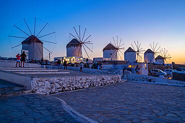 View of the windmills in Mykonos Town at dusk, Mykonos, Cyclades Islands, Greek Islands, Aegean Sea, Greece, Europe
