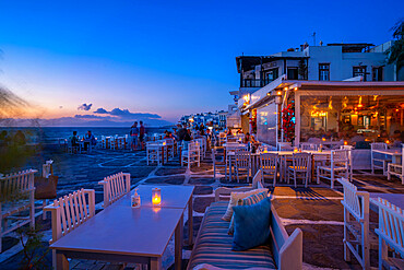 View of restauramts at Little Venice in Mykonos Town at night, Mykonos, Cyclades Islands, Greek Islands, Aegean Sea, Greece, Europe
