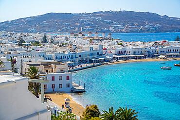 Elevated view of flour mills and town, Mykonos Town, Mykonos, Cyclades Islands, Greek Islands, Aegean Sea, Greece, Europe
