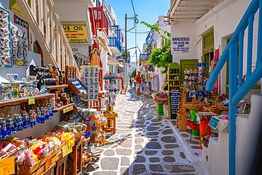 View of shops on narrow street, Mykonos Town, Mykonos, Cyclades Islands, Greek Islands, Aegean Sea, Greece, Europe
