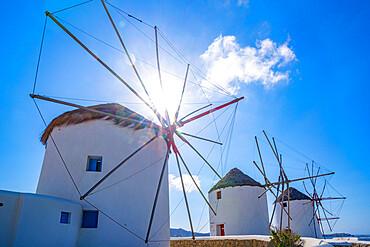 View of windmills, Mykonos Town, Mykonos, Cyclades Islands, Greek Islands, Aegean Sea, Greece, Europe