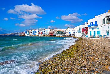 View of shingle beach and restaurants in Little Venice, Mykonos Town, Mykonos, Cyclades Islands, Greek Islands, Aegean Sea, Greece, Europe