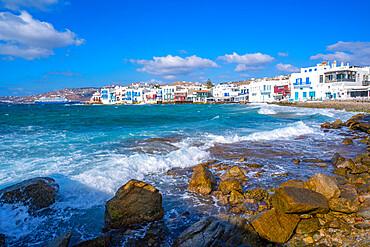 View of rocky beach and restaurants in Little Venice, Mykonos Town, Mykonos, Cyclades Islands, Greek Islands, Aegean Sea, Greece, Europe