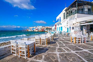 View of restaurant tables in Little Venice, Mykonos Town, Mykonos, Cyclades Islands, Greek Islands, Aegean Sea, Greece, Europe