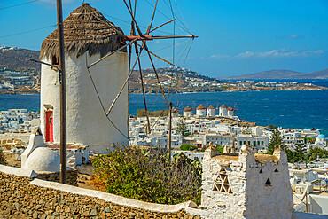 Elevated view of windmills and town, Mykonos Town, Mykonos, Cyclades Islands, Greek Islands, Aegean Sea, Greece, Europe