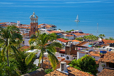 View of Downtown and Parroquia de Guadalupe (Church of Our Lady of Guadalupe), Puerto Vallarta, Jalisco, Mexico, North America