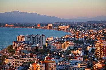 View over Downtown at sunset, Puerto Vallarta, Jalisco, Mexico, North America