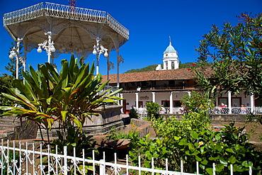 Bandstand and Church Belltower, San Sebastian del Oeste (San Sebastian), Jalisco, Mexico, North America