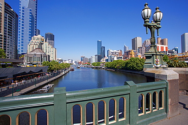View of city from Princes Bridge, Melbourne, Victoria, Australia, Pacific