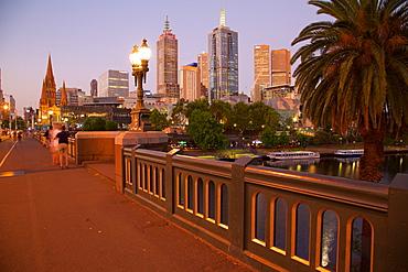 City skyline from Princes Bridge at dusk, Melbourne, Victoria, Australia, Pacific