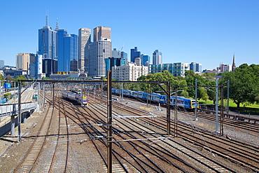 Train lines and city skyline, Melbourne, Victoria, Australia, Pacific