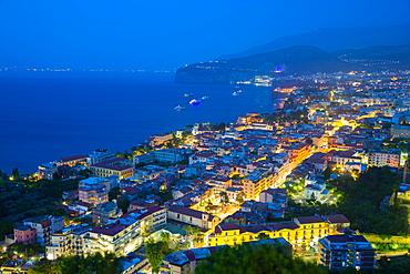 Panoramic view of Sorrento at night, Sorrento, Amalfi Coast, UNESCO World Heritage Site, Campania, Italy, Europe