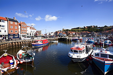 Boats in Whitby Upper Harbour in summer, Whitby, Yorkshire, England, United Kingdom, Europe