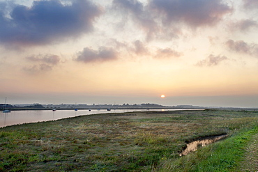 The River Alde at Sunset Aldeburgh Marshes, Suffolk, England, United Kingdom, Europe