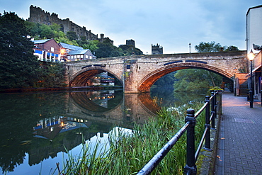Framwellgate Bridge over the River Wear at dusk, Durham, County Durham, England, United Kingdom, Europe