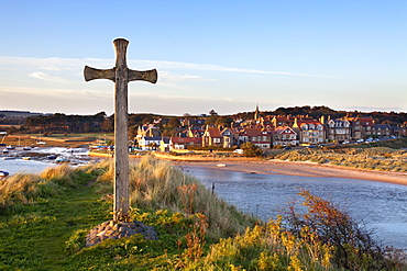 St. Cuthbert's Cross on Church Hill and Alnmouth at sunset, Northumberland, England, United Kingdom, Europe