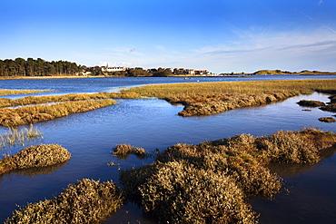 Alnmouth across the Aln Estuary, Northumberland, England, United Kingdom, Europe