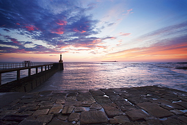 Amble Harbour Light and Coquet Island at dawn, Northumberland, England, United Kingdom, Europe
