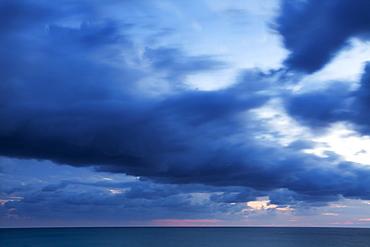 Twilight seascape from Riomaggiore, Cinque Terre, Liguria, Italy, Mediterranean, Europe