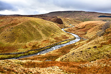 Grisedale Beck Meanders below Baugh Fell toward Garsdale Head in the Yorkshire Dales, Cumbria, England, United Kingdom, Europe