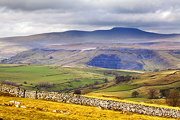 Across Ribblesdale to Ingleborough from above Stainforth near Settle, Yorkshire Dales, Yorkshire, England, United Kingdom, Europe