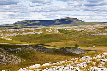 Plover Hill and Pen Y Ghent from Long Scar above Crummack, Crummack Dale, Yorkshire Dales, Yorkshire, England, United Kingdom, Europe