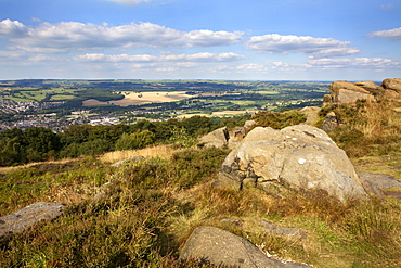 Gritstone Rocks at the Surprise View overlooking Otley from The Chevin, West Yorkshire, Yorkshire, England, United Kingdom, Europe