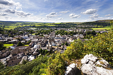 The Dales market town of Settle from Castlebergh Crag North Yorkshire, Yorkshire, England, United Kingdom, Europe