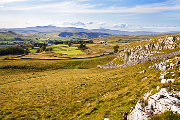 Ribblesdale and Ingleborough from above Langcliffe near Settle, Yorkshire, England, United Kingdom, Europe