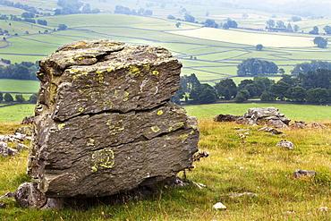 Erratic boulder at Norber, Yorkshire, England, United Kingdom, Europe
