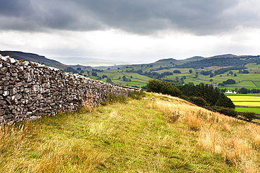 Dry stone wall and Public Footpath in Crummack Dale, Yorkshire, England, United Kingdom, Europe