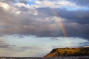 Rainbow and clouds over Ravenscar, Yorkshire, England, United Kingdom, Europe